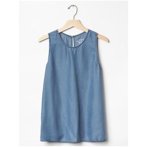 Gap Tencel® Denim Chambray Sleeveless Keyhole Top